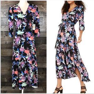 Bar lll Wrap Maxi Dress 3/4 Sleeve Floral XL